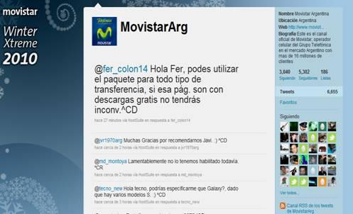Página en Twitter de Movistar Argentina