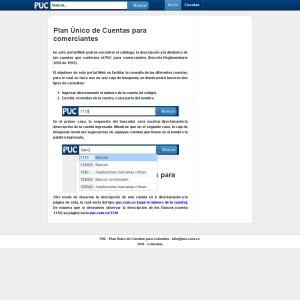 Plan �nico de Cuentas de Colombia :: Sitio Web donde pueden ser consultadas las cuentas que componen el PUC para Colombia