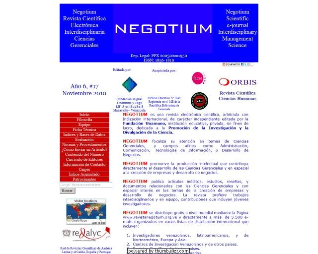 Revista Negotium :: Revista electrónica científica, arbitrada con Indización internacional, de carácter independiente editada por la Fundación Unamuno,  institución educativa, privada, sin fines de lucro...