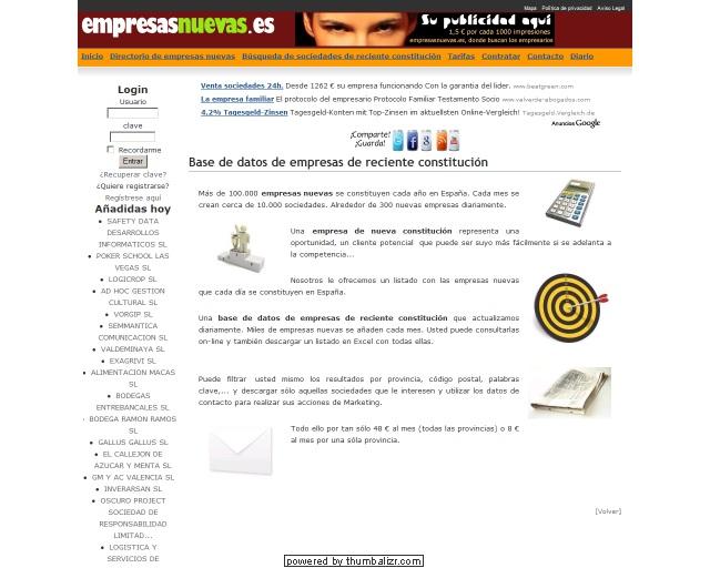 EmpresasNuevas.es :: Base de datos de empresas de reciente constituci�n en Espa�a. Ofrece de forma gratuita acceso a las empresas que diariamente se crean en Espa�a.